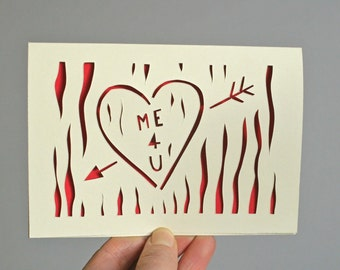 Valentine's day card, heart, me 4 u, personalised, paper cut, tree, craved initials, love, red, Etsy UK