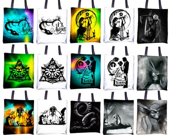 "Totes - Black and White or Color 15""x15"" - Featuring work from my Geek hand cut paper art & charcoal illustrations"