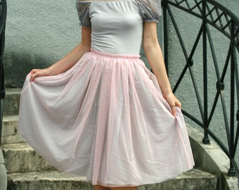 Light,pastel pink tulle midi skirt with grey viscose underskirt braidsmaids,formal,everyday