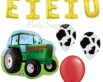Farm Party Tractor Balloons Cow Print Balloons, Kids Farm Party Balloons, Tractor Party Farm Party Decorations EIEIO gold letter