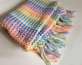 Pastel Rainbow Striped Baby Blanket