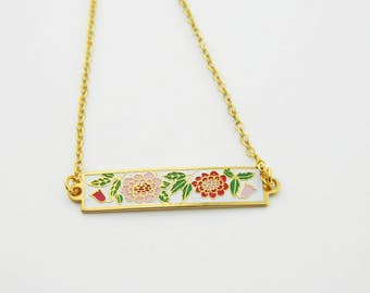 Enamel Bar Necklace with Sunflowers