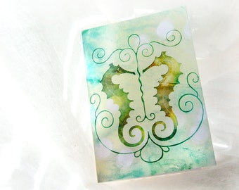 Beach Seahorses Notecard - Blank 4x5.5 Card, Single or Set of 4 - Aqua Blue Green Yellow - Nature Vintage Bokeh Summer