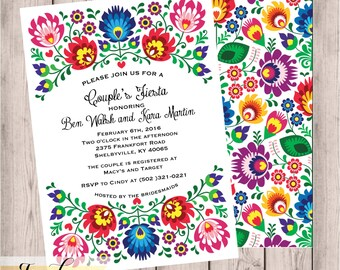 Fiesta Couples Shower Invitation, 5x7, Bridal Shower, Engagement Party, Couples Shower, Fiesta, Folk, Digital