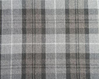 Classic Tartan (Plaid) Woven Dressmaking Fabric in Grey and Black - Medium Weight - Viscose Mix - Sewing Material, UK