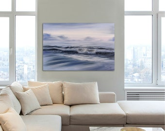 Large Original Ocean Beach Oil Painting on Canvas Serenity Surf