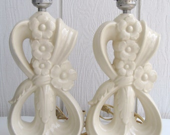 Vintage Boudoir Vanity Lights Lamps Glazed Cream Ceramic Floral Leaf Scrollwork