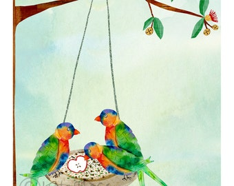 Rainbow Lorikeet ART PRINT Australian Birds