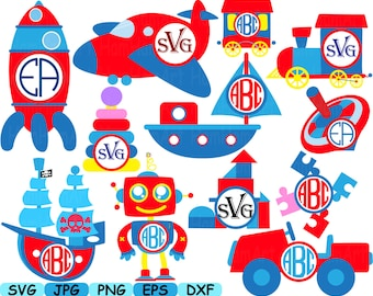 Circus Circle Toys kid cars airplane ship school Cutting Files svg illustration Set Digital eps png dxf jpg Clip Art Vector Clipart -151s