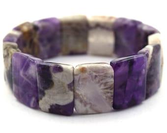 """18mm natural amethyst stretch bracelet 7.5"""" 36861"""