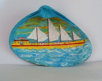 Hand Painted  Schooner Seashell