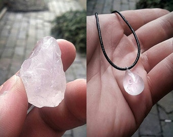 Natural Clear Crystal 100% handmade. Teardrop. Made to order by me