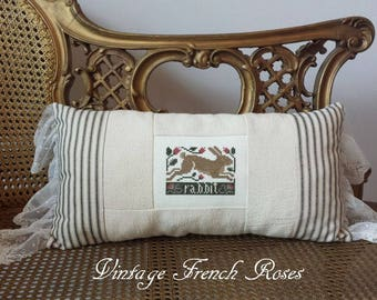 Rabbit Pillow Vintage Style Black Ticking  Lace Ruffle Autumn Fall Harvest Romantic Shabby Chic Cottage French Farmhouse Style Decor