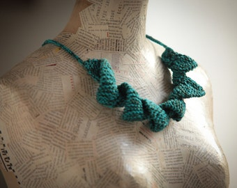 blue green Cotton jewelry Gift Textile jewelry Knitting necklace Fiber jewelry -   women handmade
