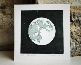 Full moon- Original linocut print. Hand printed wall art, limited edition signed linoprint, handmade lunar poster
