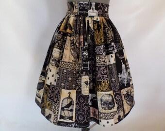 Edgar Allan Poe, Nevermore, High Waist Book Skirt