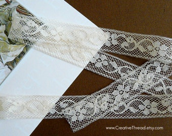"6 Yards - Delicate French Lace Insertion - Cotton Lace - Heirloom Lace - Lace Insertion - Doll Lace - ECRU/IVORY - 5/8"" wide -  No. 215"
