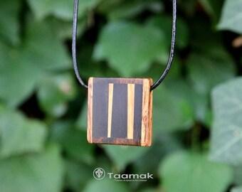 Pendant necklace multi-essences reversible wooden snake, ebony, olive wood and Bocote wood precious-made hand-unique - Taamak