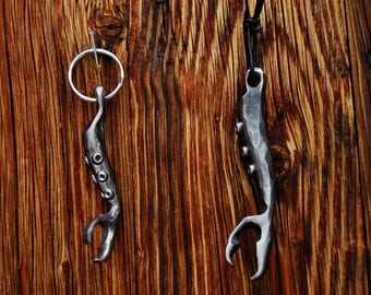 Cthulhu bottle opener, tentacle bottle opener, tentacle key chain, hand forged cthulhu, octopus art, tentacle art, tentacle, tentacle beer