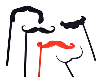 3D printed 4 Pc Photobooth Props  Mustache Props,  Wedding Photo Booth props, Birthday Photo Booth Props