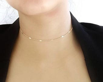 Choker Necklace, Shimmer Choker, Thin Gold Choker, Dainty Choker Necklace, Delicate Choker, Bar Chain Choker, Gold Choker Necklace, Choker