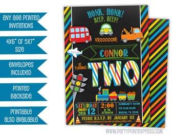 Train Invitations - Transportation Birthday Invitation - Cars Trains Planes Party - Chalk Transportation Invitations - Boy Birthday