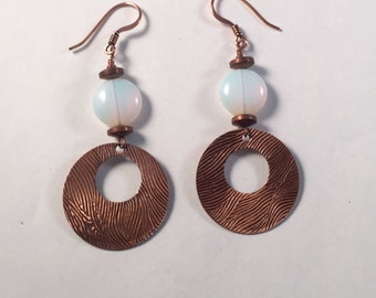 Copper, Hammered, Disc, Dangle Earring