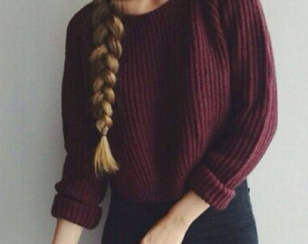 Casual Crop Soft Stitch Sweater