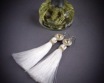 Handmade beaded earrings, beaded earrings, tassel earrings, swarovski earrings, white earrings, wedding earrings, bridesmaid earrings