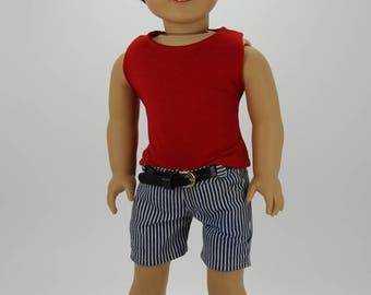 Handmade 18 inch doll clothes - Boy red, white and blue 3 piece shorts outfit (599)