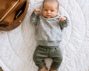 Baby Play Mat - MADE TO ORDER - Hues of Gray / Grey Round Fringe Play Mat / Nap Mat / Padded Playmat / Tummy Time Mat / Baby Activity Mat
