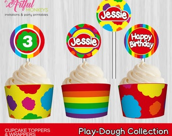 Printable Cupcake Toppers and Wrappers     Personalized
