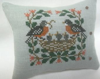 Robin And Bird's Nest Cross Stitch Mini Pillow,  Robins Feeding Baby Birds
