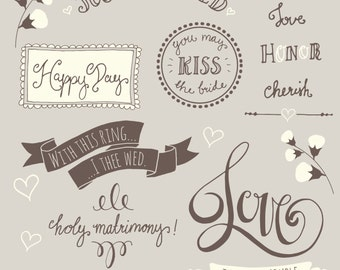 CLIP ART: Wedding Overlays Photoshop 1 // Fully Layered psd Vector eps  // Marriage Bride Bridal // Lettering // Photography Overlay Art