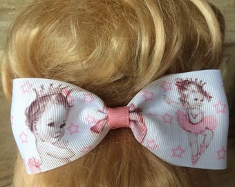 Handmade Set of 2 Ballerina Hair Bows Clips in Pink & White