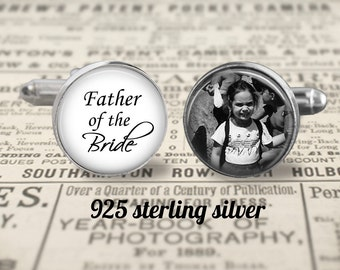 Solid Sterling Silver 925 Cufflinks, Father Of The Bride Cufflinks,Custom Photo Accessories, Wedding Cufflinks