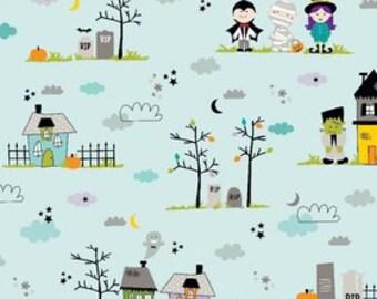 Halloween Fabric, Riley Halloween Magic by Riley Blake,  Main in Blue, Cotton Fabric,  1 Yard