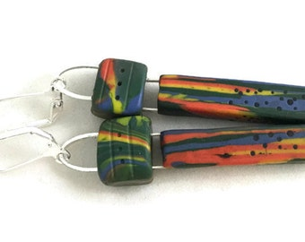 Tribal inspired rainbow long dangle earrings polymer clay rainbow colors