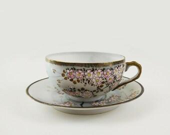 Egg Shell Porcelain Cherry Blossom Teacup & Saucer