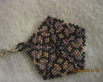 Peyote Stitched Pentagon Zipper Pull or Pendant...1 of a kind...hand made...1391h
