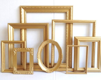 Gold Picture Frames Set - Baby Nursery Frames - Romantic Wedding - Soft Metallic Gold - Vintage Collection - Shabby Chic - Gallery Wall