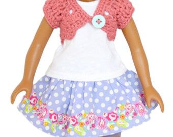 """Download Now - CROCHET PATTERN 13"""" - 14.5"""" Doll Lacy Shrug Pattern"""