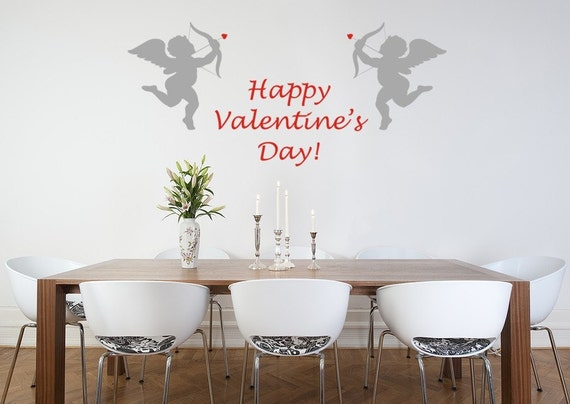 Cupids decal, Happy Valentines Day Cupids Vinyl Wall Decal