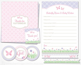 Butterfly Baby Shower Decorations Pink and Purple - INSTANT DOWNLOAD Printable Package - It's a Girl - Flower Garden Spring Decor