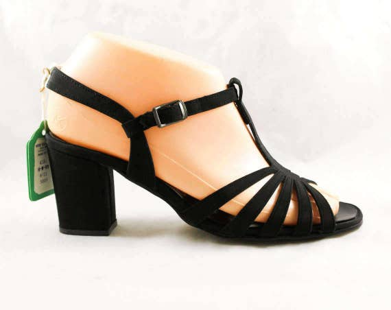 47871 Deadstock Open Strap Ankle 6M Strap 60s Black T Party Pump Evening Size Glam Shoes Sandals 1960s NOS 6 Toe Cocktail T HWqwgFA1S