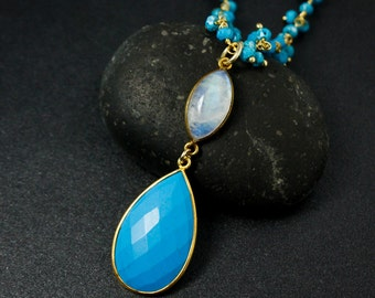 Gold Blue Turquoise & Rainbow Moonstone Necklace - Turquoise Chain - Boho Jewelry