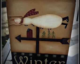 Snowman Wood Shelf Sitter Block Holiday Home Decor