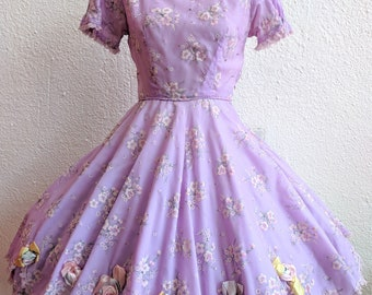 Vintage Lilac Square Dance Dress