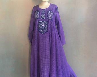 Vintage 100% Cotton Purple Plaid Caftan Tent Dress