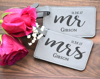 Wedding Gift, Personalized Luggage Tag, Leatherette Bag Tag, Customized, Mr and Mrs Tags, His & Hers Luggage Tags, Bridal Shower Gift